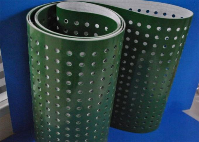Green PVC Plastic Corrugator Conveyor Belt With Punching Holes For Lightweight Conveying