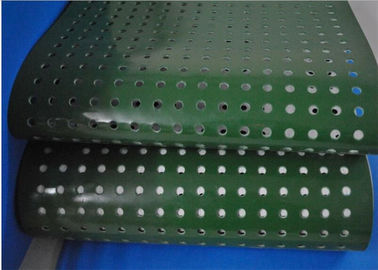China Green PVC Plastic Corrugator Conveyor Belt With Punching Holes For Lightweight Conveying supplier
