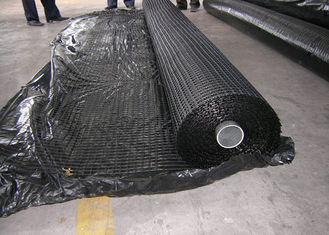 China Warp Knitted Polyester Geogrid , High Strength Geogrid For Road Construction supplier