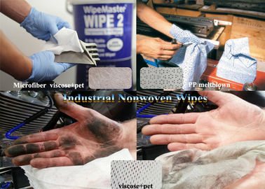 ISO White Viscose+pet,Microfiber,Woodpulp Oil Absorbent Industrial Use Spunlace Nonwoven Wipes