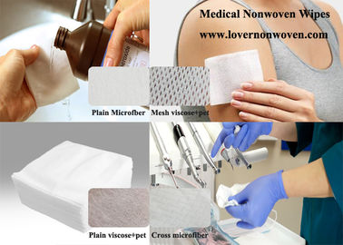 ISO Medical Use White Microfiber Viscose+pet Absorbent Plain/Mesh Spunlace Nonwoven Wipes